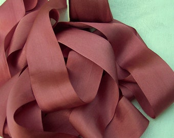 Pure Silk Ribbon  Aragon Ochre Color 1 1/2 inch  36mm wide 5 yards