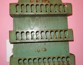 Vintage French Spice Rack Curio Shelf Green Metal Edging Cottage Chic