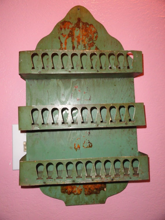 Vintage French Spice Rack Curio Shelf Green By