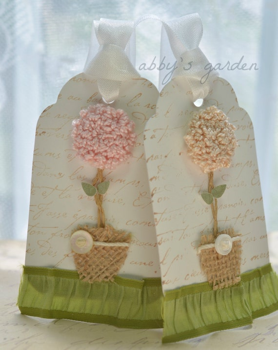 Shabby Chic Topiary Gift Tags-set of 2