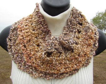 Desert Sand - Beige Tones - Soft, Warm Infinity Loop Scarf - Adult or Child Size - Ready to Ship - Endless Circle Scarf