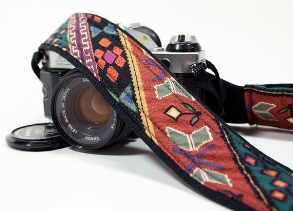 dSLR Camera Strap, Tribal, Southwestern, Last one with this fabric
