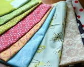 Designer fabric scraps  6x18 inch bundle of fabrics pack of 10 - K