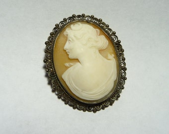 Antique Sterling Silver Carved Shell Cameo Brooch of Diana on Etsy