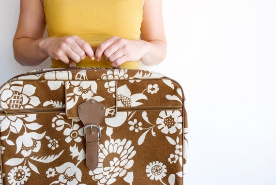 SALE Vintage 1970's Sarne Flower Power Luggage / Overnight Suitcase FREE SHIPPING