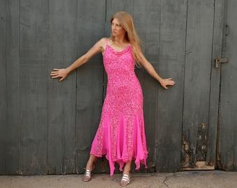 Vintage SCALA Pink Silk Beaded Formal M - Dancing Dress - Handkerchief Hem