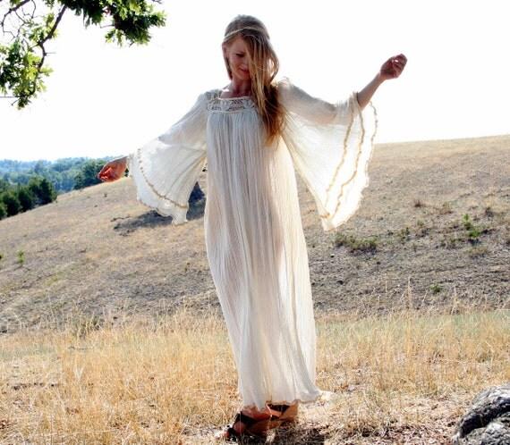 Vintage MAXI Dress Wedding Gown - Angel Sleeves - Lace Bodice - Crinkle Gauze - S M L - Renaissance