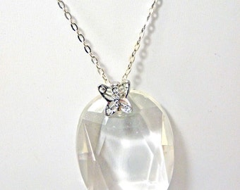 Sparkling Butterfly Chandelier Crystal Pendant on silver Chain- large - sparkling necklace - reclaimed beauty