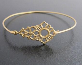 Brass Bangle Bracelet, Mila - Brass Bracelet, Brass Jewelry, Design Themes: Victorian Bracelet, Victorian Bangle Bracelet, Victorian Jewelry
