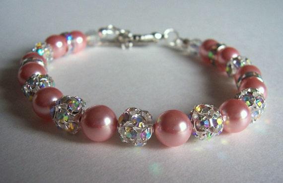 Pink pearl and rhinestone bracelet, wedding jewelry, wedding bling bracelet, pearl beaded bracelet