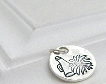 Cheer and Pom Charm - Hand Stamped Silver on Etsy