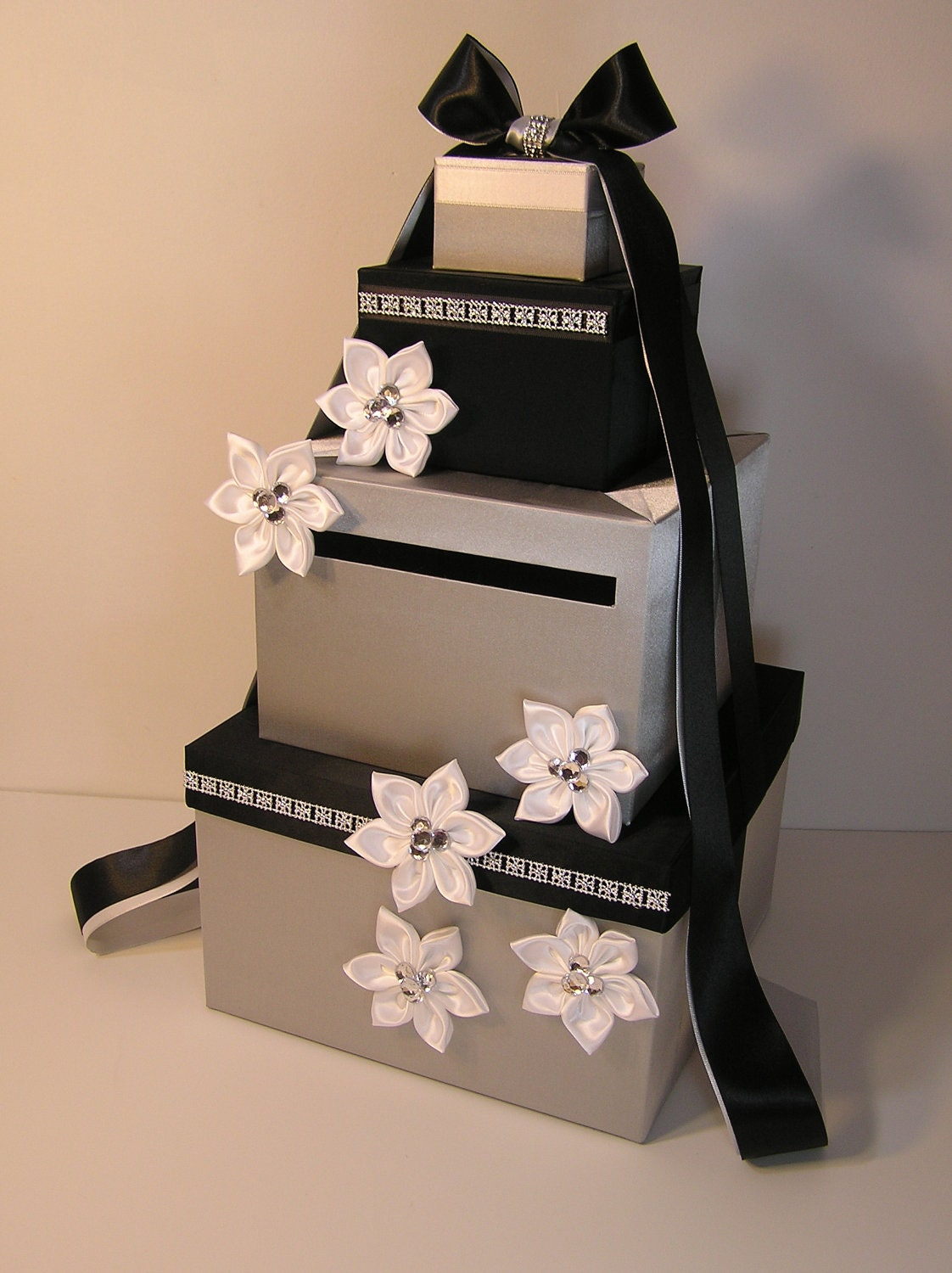 Black And White Wedding Gift Card Box : Wedding Card Box Silver and Black / White Gift Card Box Money
