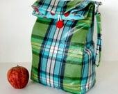 Reversible Lunch Bag in Green Tartan Red Dot