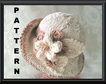 Knitted Hat Pattern Baby Hat Pattern Knitting Pattern for Brimmed Baby Hat in Ivory and Beige with a Flower: NATURAL BEAUTY