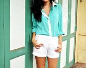 Long Sleeve Shirt Seafoam Green Mint Blouse White Collar Top Petite Summer Fashion Etsy Gift