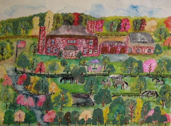 HOLIDAY SALE- Original Vintage Folk-Art Horse Farm Scene Watercolor Painting