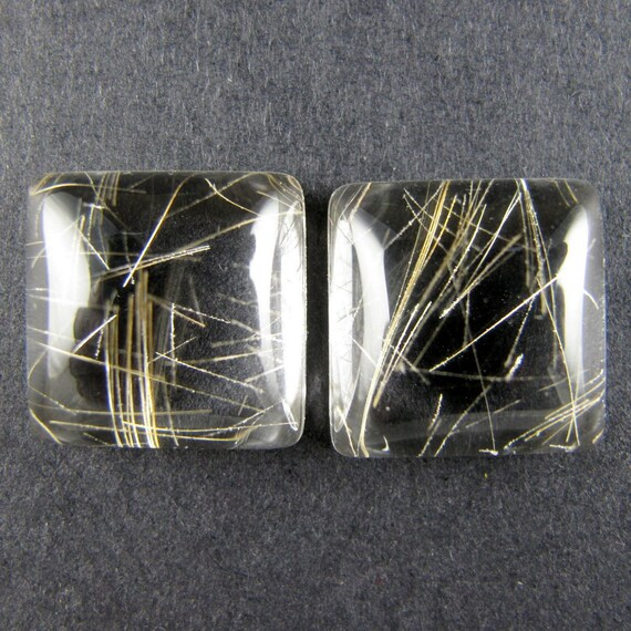 Premium  Rutilated Quartz Designer Cabochon Matched Pair