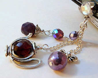 Dust plug charm, cell phone charm, dangle, teapot, purple, bling, iphone, android, handmade