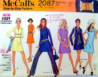 60s A-line Dress & Pants Vintage Pattern McCalls 2087 Mini or Regular Length Bust 36