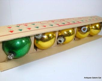 Vintage Shiny Brite Ornaments, Boxed Set, Christmas Ornaments, Holiday Decor, Mid Century Tree Ornaments  (667-12)