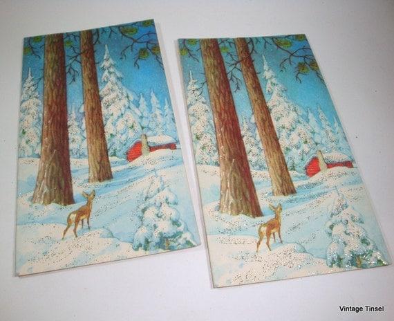 Vintage Christmas Cards, Winter Scene, Deer In Forest, Red Barn, Woodland, Embellished With Glitter  (632-12)