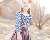 Magnolia floral Blue Ridge skirt - High waisted retro chic for girls in eggplant, magenta, cornflower blue and red