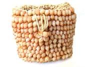 194's/50's Peaches and Cream Sea Shell Bucket Handbag Crochet Top Purse REDUCED