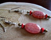 Agate and Coral Earrings