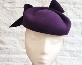 Plum Ripple Beret - Great felt hat perfect for a wedding or the races, can be made in other colours