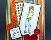 CLEARANCE....HEY There GIRL... Handmade Friendship Greeting Card