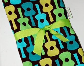 Baby Boy Blanket - Groovy Guitar Toddler Blanket - Minky Blanket