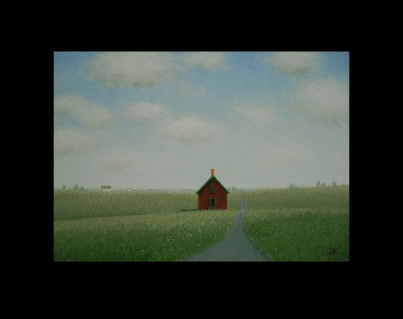 5 x 7  Old FARMHOUSE Landscape Miniature Original HEARTLAND Folk House Fine Art Painting