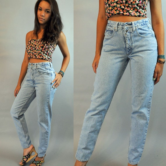 80s Vintage HIGH WAIST Jeans / distressed faded Z CAVARICCI denim blue jeans w/ taper legs s/m small / medium
