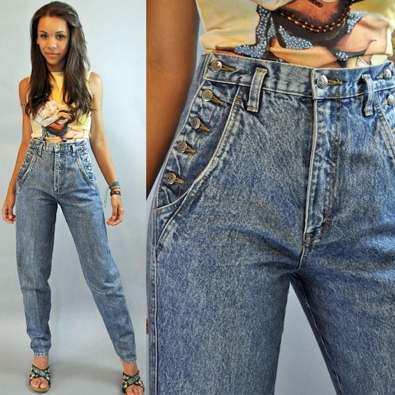 80s Vintage HIGH waist JEANS / Womens NUOVO Stone Wash denim