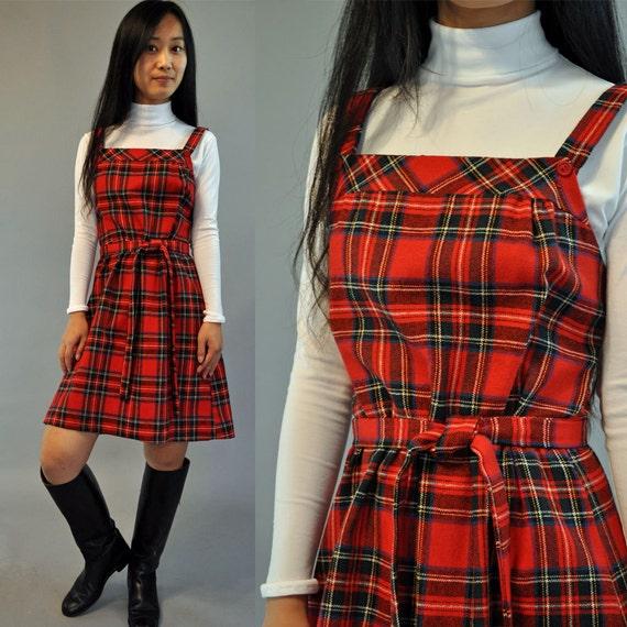 Vintage 70s red plaid JUMPER DRESS / Empire Waist Schoolgirl