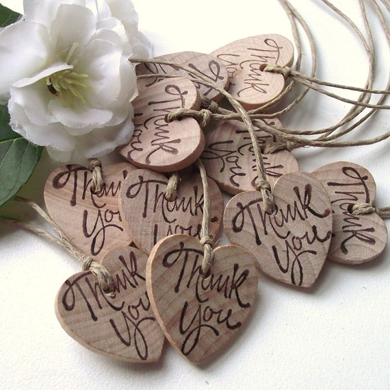 Rustic Wood Heart Gift Tags - Hand Stamped Wooden Thank You Favor Tags with Twine (Qty of 10) - Perfect for boxes, bags, and more