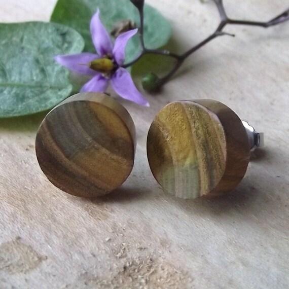 Wooden Post Earrings or Wood Stud Earrings - Round Wood Post Earrings Handmade from a Reclaimed Wood Tree Branch - Great gift idea