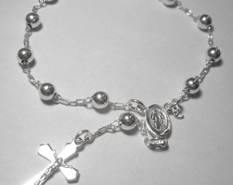 Sterling Silver Rosary Bracelet, First Communion, Catholic Jewelry, Cross, Religious Jewelry, Confirmation Jewelry Gift, Crucifix