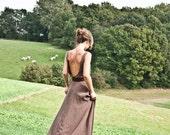 The Cottage Chloé maxi dress brown georgette crepe cotton viscose maxi dress with open back, bohemian, hippie, zen, summer size medium