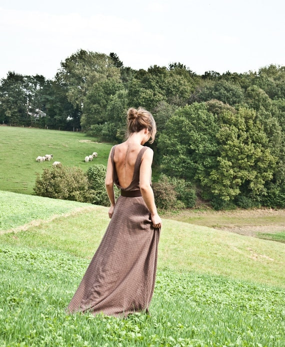 The Cottage Chloé maxi dress brown georgette crepe cotton viscose maxi dress with open back, bohemian, hippie, zen, summer size medium