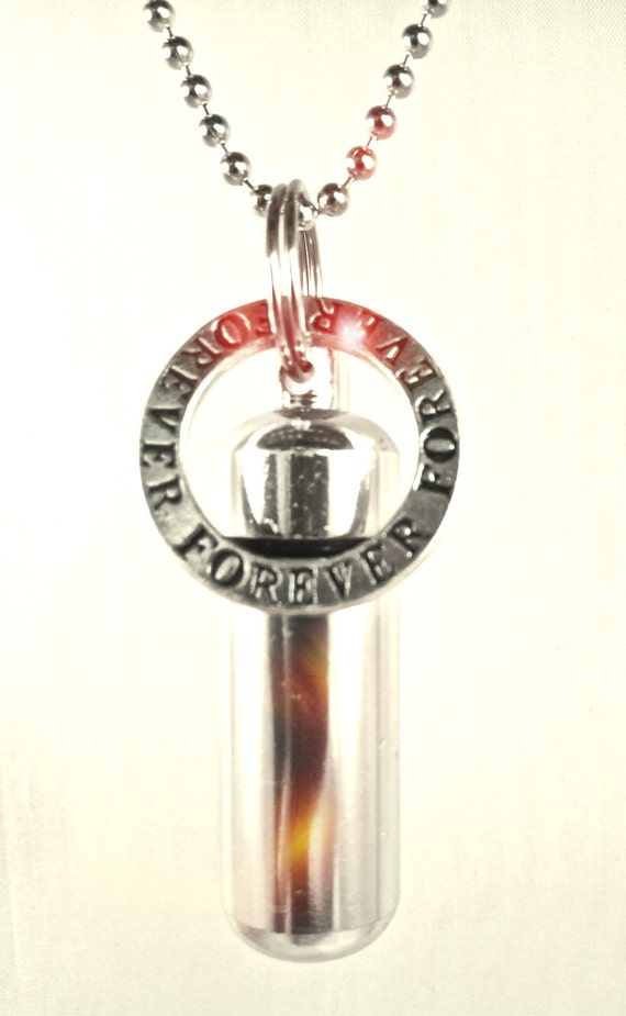 """Silver Cremation Urn & Vial on 24"""" Ball Chain """"FOREVER"""" - Custom Hand Assembled.... with Velvet Pouch and Fill Kit"""