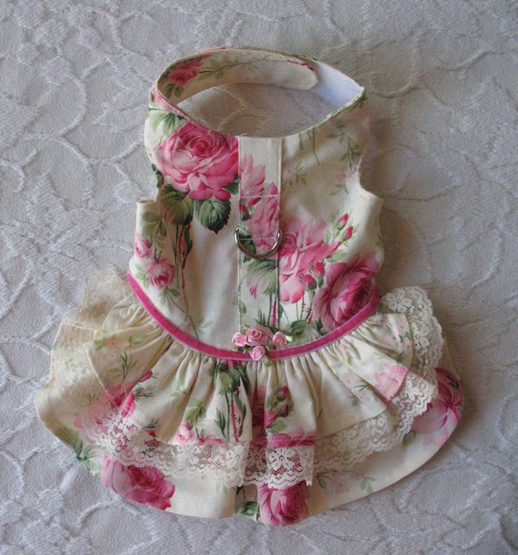 Dog Dress Harness with roses XS