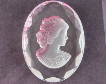 Vintage Glass Cabochon 40x30 Pink and Clear Cameo Intaglio S-104