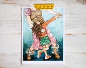 Family Fun Art Print on Luxurious Watercolor Paper. Dancing Mother and Daughter. Proceeds for Reece's Rainbow Adoption Ministry.