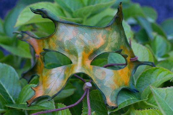 Fall Oak Leaf Handmade Leather Mask