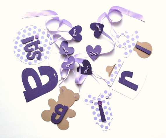 Baby shower decorations lavender and purple it's a girl banner by ParkersPrints on Etsy