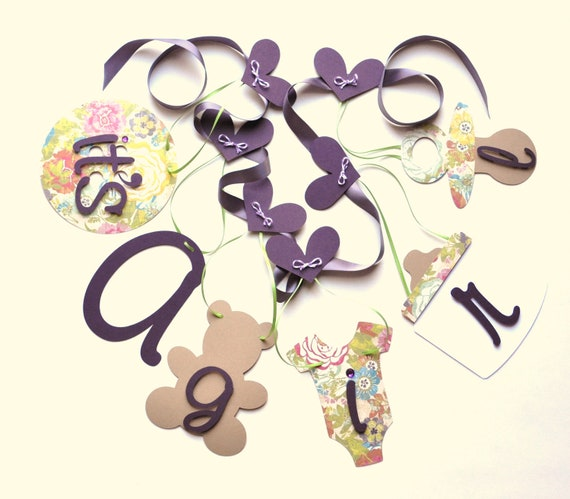 Baby shower decorations it's a girl banner purple and yellow floral by ParkersPrints on Etsy