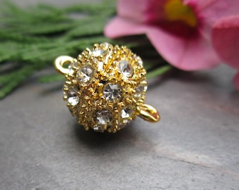 12mm Crystal on Gold Pave Magnetic Clasp Bestseller