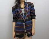 SALE Vintage 90's Southwest Native Blanket Blazer Jacket Concho Slouch XS-L