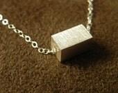 Brushed Sterling Silver Medium Rectangle Slide Necklace 925 Geometric